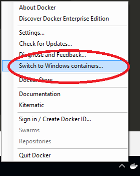 Switch to windows containers